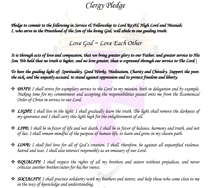Clergy Pledge