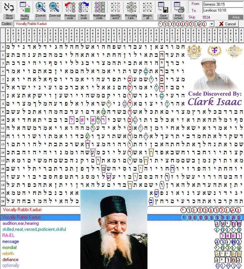 Vocally Rabbi Kaduri Torah Code by Apostolic Nuncio Clark Isaac - Terms Found: audition, ear, hearing | skilled, neat, versed, proficient, skilful | RA-EL | message